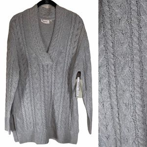Nordstrom Cloth RDI Small Sweater Gray Tunic Cable Knit Tunic V-Neck Light